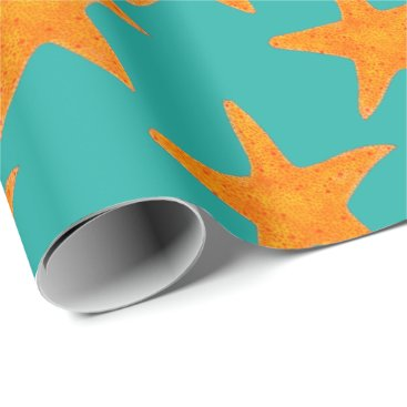 Beach Themed Blue Gold Orange Starfish Star Fish Beach Wrap Wrapping Paper