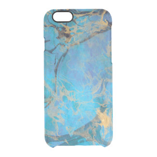 Blue/Gold Painted Marble Clear iPhone 6/6S Case