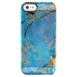 Blue/Gold Painted Marble Clear iPhone SE/5/5s Case