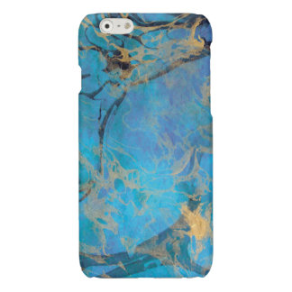 Blue/Gold Painted Marble Glossy iPhone 6 Case