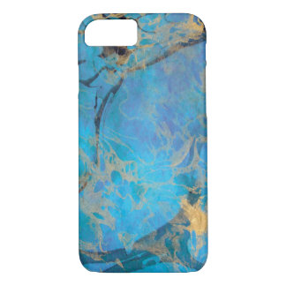 Blue/Gold Painted Marble iPhone 7 Case