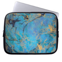 Blue/Gold Painted Marble Laptop Sleeve