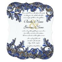 Blue & Gold Paisley Damask Wedding Invite