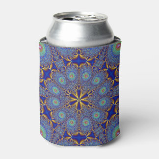 Blue Gold Peacock Fractal Can Cooler