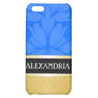 Blue & Gold Personalized Damask iPhone 4 Case