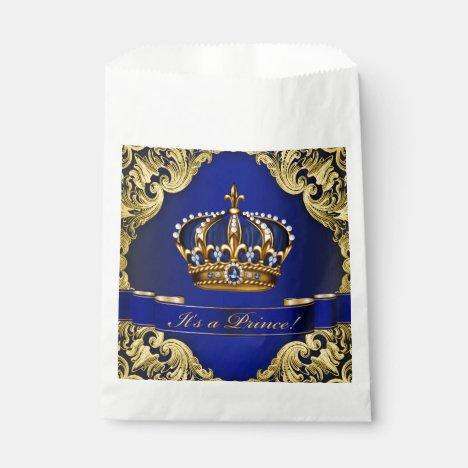 Blue Gold Prince Baby Shower Favor Bag