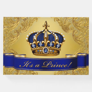 Blue Gold Prince Baby Shower Guest Book