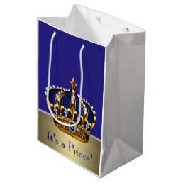 Blue Gold Prince Baby Shower Medium Gift Bag
