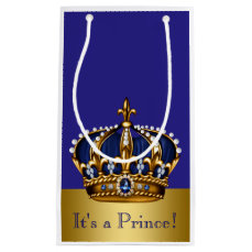 Blue Gold Prince Baby Shower Small Gift Bag