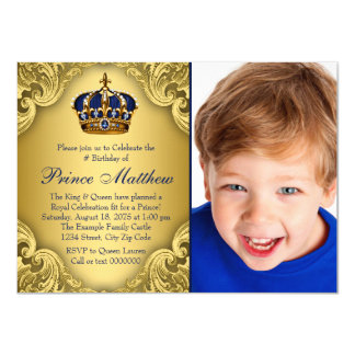 Blue Gold Prince Crown Prince Birthday Party Card