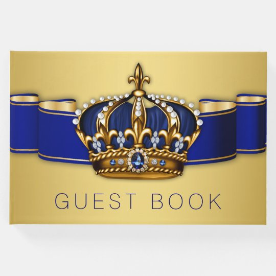 Blue Gold Prince King Crown Guest Book