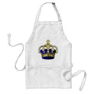 Blue & Gold Royal Crown Adult Apron