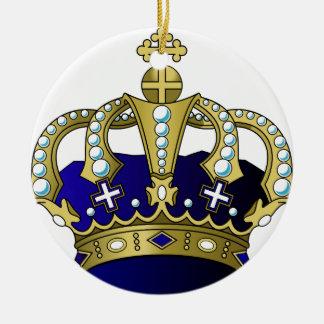 Blue & Gold Royal Crown Ceramic Ornament
