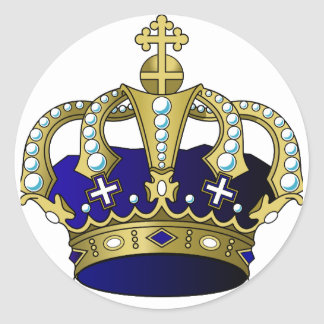 Blue & Gold Royal Crown Classic Round Sticker