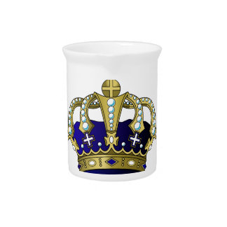 Blue & Gold Royal Crown Pitcher