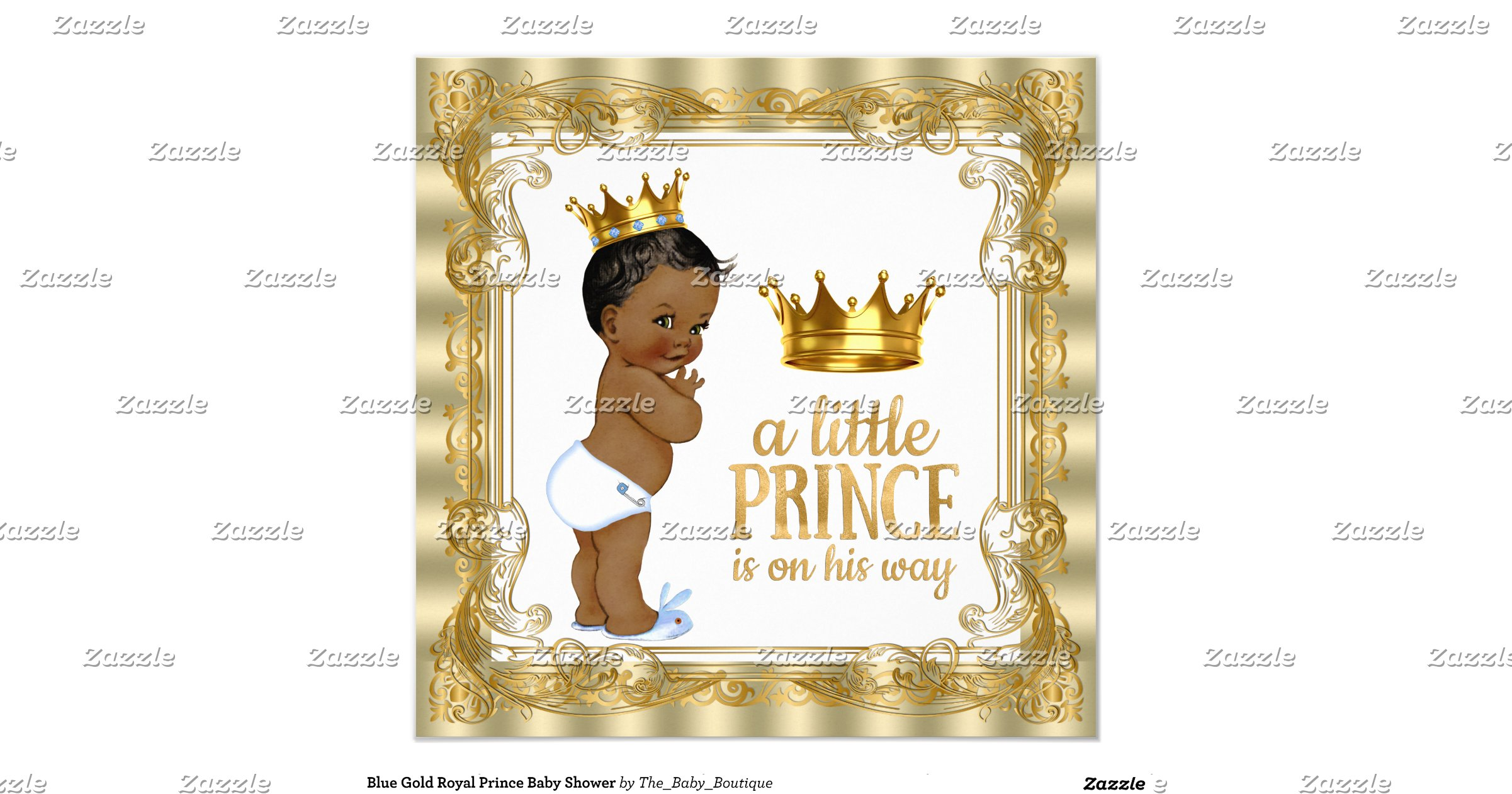blue gold royal prince baby shower invitation