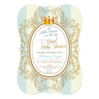 Blue Gold Royal Prince Baby Shower Invitations