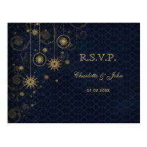 blue gold rustic Snowflakes Winter wedding RSVP Postcard