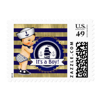 Blue Gold Sailor Nautical Baby Shower Postage