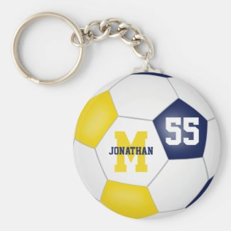 blue gold school colors boys girls soccer ball keychain