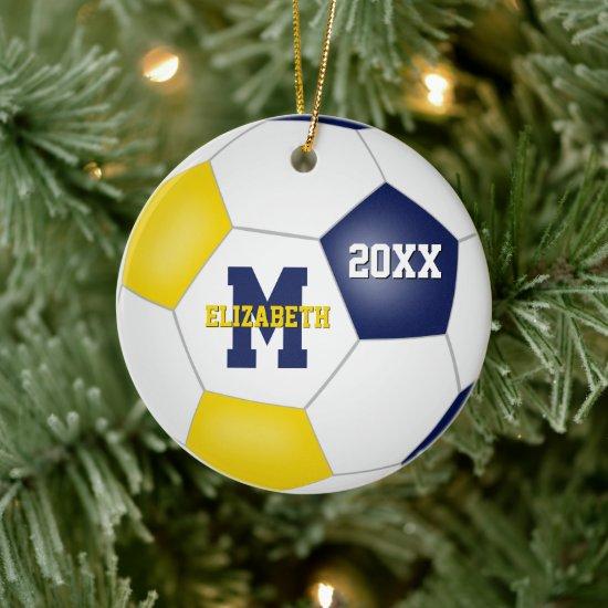 blue gold school sports team colors soccer ceramic ornament