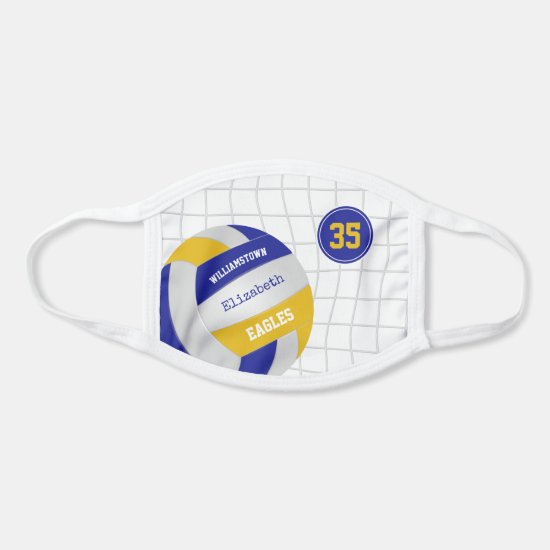 blue gold school team colors girls volleyball face mask