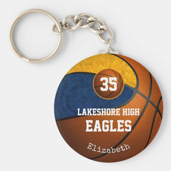 blue gold school team spirit girls' basketball keychain
