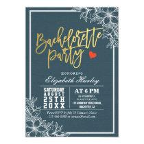 Blue Gold Script White Floral Bachelorette Party Card