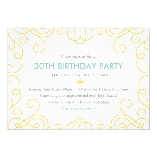 Blue & Gold Scrolls Birthday Party Invite