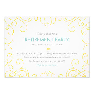 Blue Gold Scrolls Retirement Party Invite