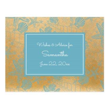 Beach Themed Blue Gold Sea Shells Baby Advice, prayers 3988 Postcard