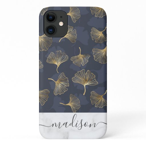 Blue Gold Shimmer Ginkgo Biloba Marble Script Name iPhone 11 Case