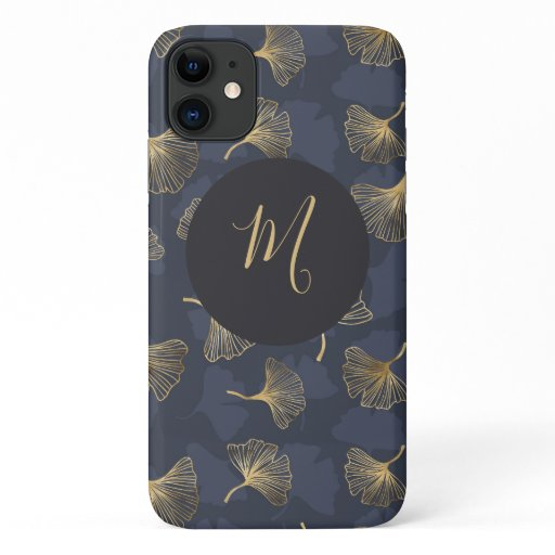 Blue Gold Shimmer Ginkgo Biloba Script Monogram iPhone 11 Case