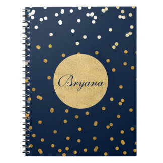 Blue & Gold Shiny Confetti Dots Modern Notebook