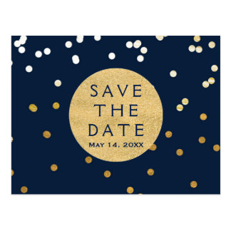 Blue & Gold Shiny Confetti Dots Save The Date Postcard