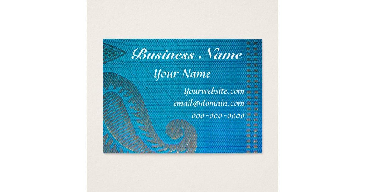 Blue & Gold Silk Paisley Cloth Business Card | Zazzle.com