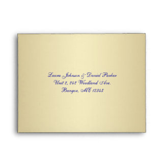Blue, Gold Snowflakes Envelope for RSVP Card