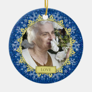 Blue Gold Snowflakes Memorial Photo Christmas Double-Sided Ceramic Round Christmas Ornament