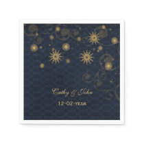 blue gold Snowflakes personalized wedding napkin