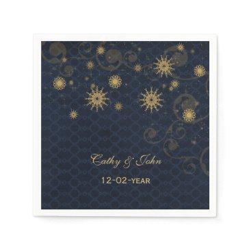 blue gold Snowflakes personalized wedding napkin