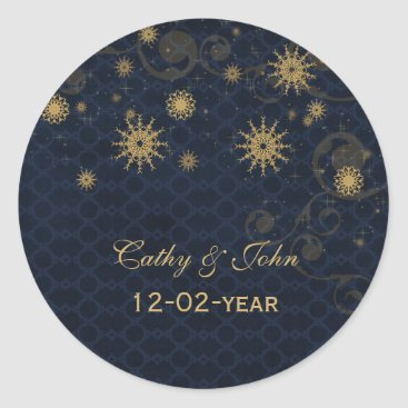 blue gold Snowflakes wedding favor stickers