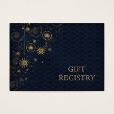 blue gold Snowflakes wedding gift registry Business Card