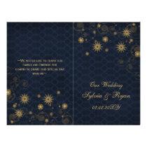 blue gold Snowflakes wedding programs folded