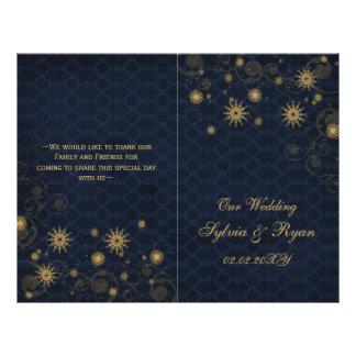 blue gold Snowflakes wedding programs folded Flyer Design