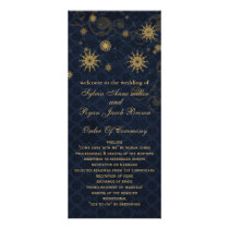 blue gold Snowflakes wedding programs tea length