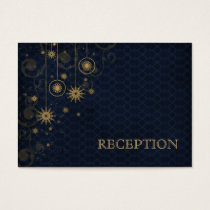 blue gold Snowflakes wedding reception invite