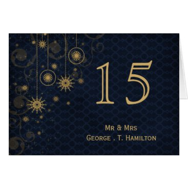 blue gold Snowflakes wedding table numbers