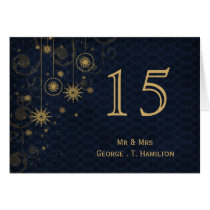 blue gold Snowflakes wedding table numbers Card