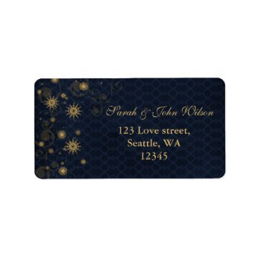 blue gold Snowflakes Winter address label