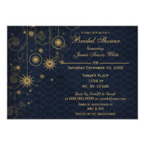 blue gold Snowflakes Winter Bridal Shower Invite